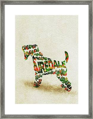 Airedale Terrier Watercolor Painting / Typographic Art Framed Print by Ayse Deniz