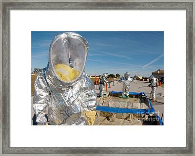 Airman Waits To Process Framed Print by Stocktrek Images