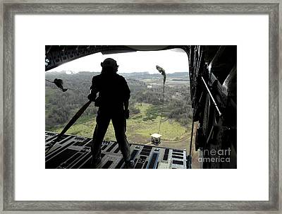 Airman Watches A Practice Bundle Fall Framed Print