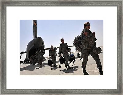 Airmen Arrive In Iraq In Support Framed Print