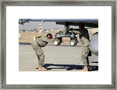 Airmen Inspect F-16 Fighting Falcon Framed Print