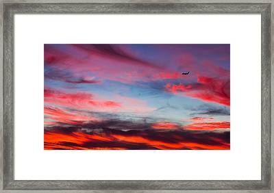 Framed Print featuring the photograph Airplane In The Sunset by April Reppucci