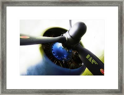 Airplane Military C47a Skytrain Engine Propeller Framed Print by Thomas Woolworth