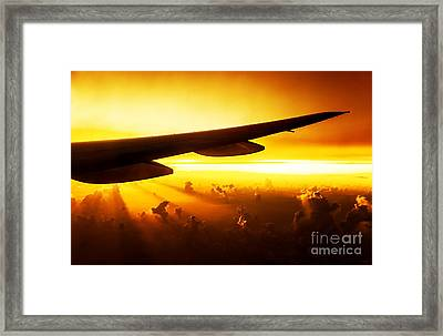 Airplane On Sunset Framed Print by Anna Om