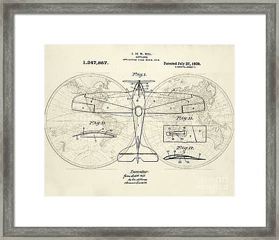 Airplane Patent Collage Framed Print by Delphimages Photo Creations