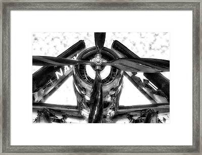 Airplane Propeller And Engine Navy Bw Framed Print