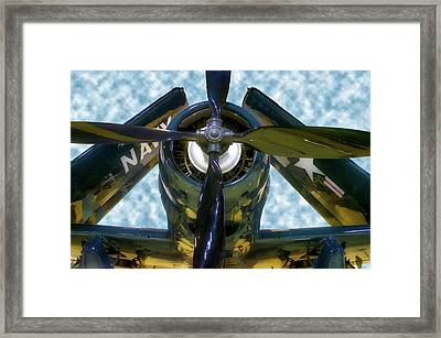 Airplane Propeller And Engine Navy Framed Print