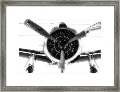 Airplane Propeller And Engine T28 Trojan 01 Bw Framed Print