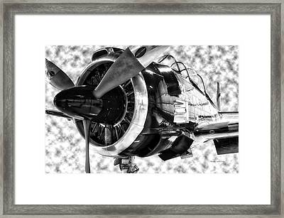 Airplane Propeller And Engine T28 Trojan 02 Bw Framed Print