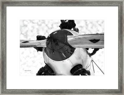 Airplane Wooden Propeller And Engine Pt 22 Recruit 01 Bw Framed Print