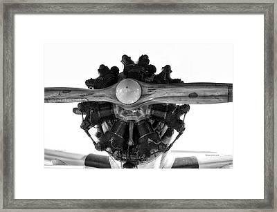 Airplane Wooden Propeller And Engine Timm N2t-1 Tutor Bw Framed Print