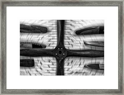 Airplane Wooden Propellers Bw 01 Framed Print