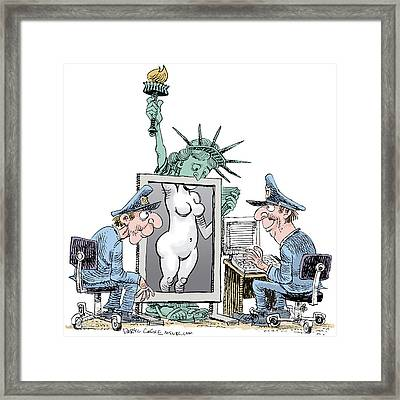 Airport Security And Liberty Framed Print