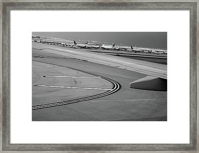 Airport Taxiway B W Framed Print