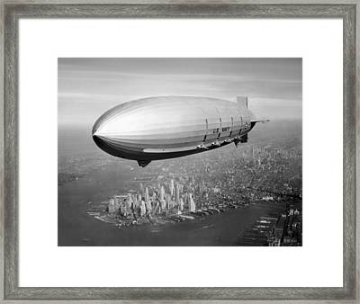 Airship Flying Over New York City Framed Print by War Is Hell Store