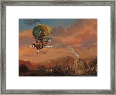 Airship Over Atlantis Steampunk Series Framed Print