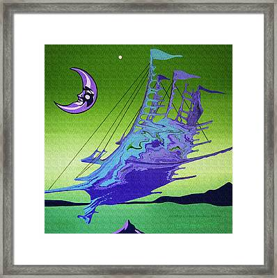 Framed Print featuring the painting Airship Under A Smiling Moon  by Robert G Kernodle