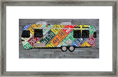 Airstream Camper Trailer Recycled Vintage Road Trip License Plate Art Framed Print