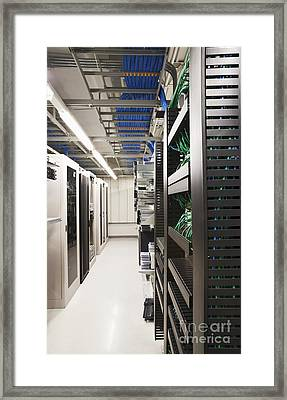 Aisle With Computers And Servers Framed Print by Jetta Productions, Inc