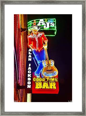 Framed Print featuring the photograph Aj's Good Time Bar by Lisa Wooten