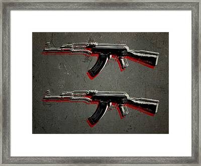Ak47 Assault Rifle Pop Art Framed Print by Michael Tompsett