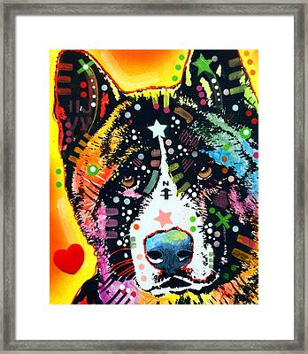Akita 2 Framed Print by Dean Russo