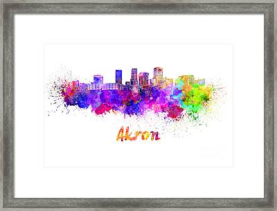 Akron Oh Skyline In Watercolor Framed Print
