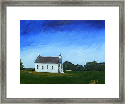 Akron Townhouse School Framed Print by Maria Soto Robbins