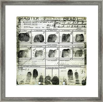 Al Capone Fingerprints Framed Print by Jon Neidert