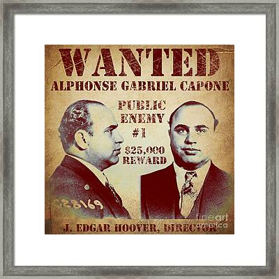 Al Capone Most Wanted Poster Framed Print by Mindy Sommers