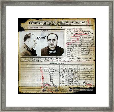 Al Capone Mugshot And Criminal History Framed Print by Jon Neidert