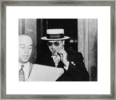 Al Capone, With A Cigar And A Big Framed Print