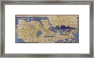 Al-idrisi's World Map, 1154 Framed Print