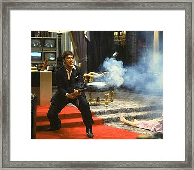 Al Pacino As Tony Montana With Machine Gun Blasting His  Fellow Bad Guys Scarface 1983 Framed Print by David Lee Guss