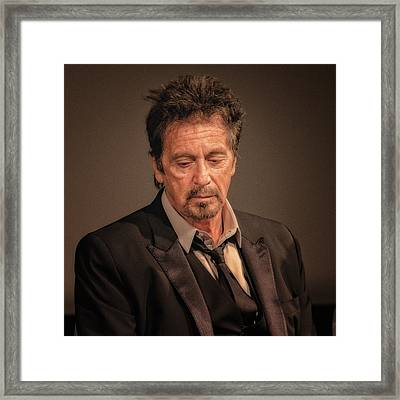 Al Pacino Reflects Framed Print by Justin Harris