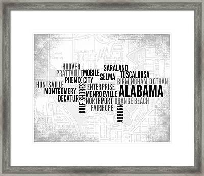 Alabama 1 Word Art Typography Framed Print