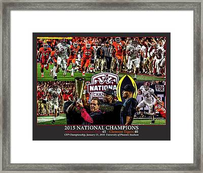Alabama Crimson Tide 1 Dark Gray Background Ncaa 2015 National Champions College Football Framed Print
