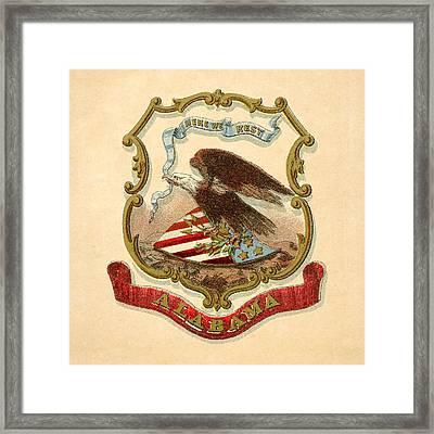 Alabama Historical Coat Of Arms Circa 1876 Framed Print by Serge Averbukh