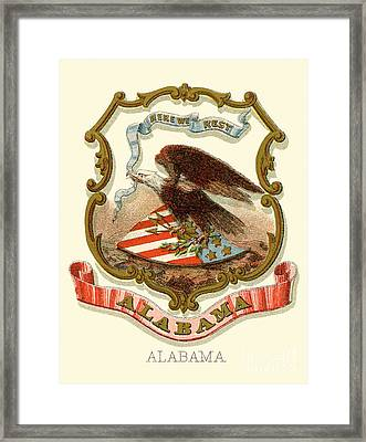 Alabama State Coat Of Arms 1876 Framed Print by Celestial Images