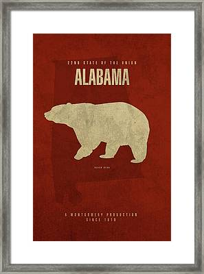 Alabama State Facts Minimalist Movie Poster Art Framed Print