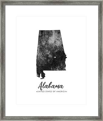 Alabama State Map Art - Grunge Silhouette Framed Print