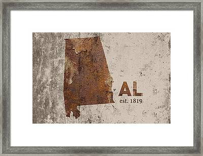 Alabama State Map Industrial Rusted Metal On Cement Wall With Founding Date Series 015 Framed Print by Design Turnpike
