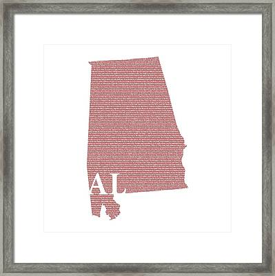 Alabama State Map With Text Of Constitution Framed Print