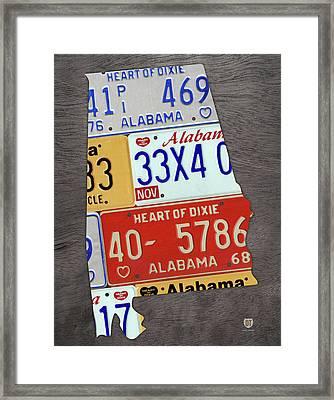 Alabama State Shape Vintage License Plate Map Framed Print by Design Turnpike