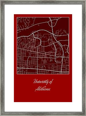 Alabama Street Map - University Of Alabama Tuscaloosa Map Framed Print