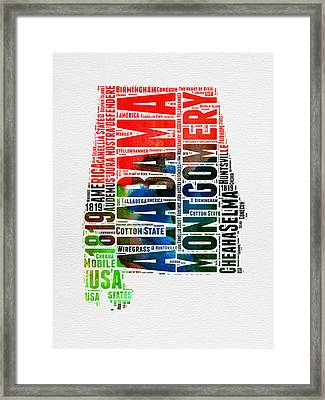 Alabama Watercolor Word Cloud  Framed Print