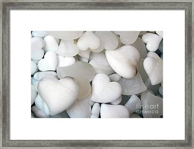Alabaster Hearts Framed Print