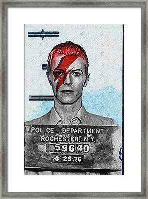 Aladdin Sane Mugshot - David Bowie Framed Print by Bill Cannon