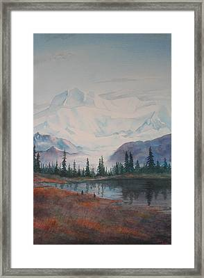Alaksa Mountain And Lake Framed Print by Debbie Homewood