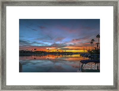 Alamitos Bay Naples Sunset Belmont Shore Framed Print by David Zanzinger